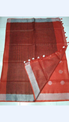 Brick Red Linen Saree with silver border-yespoho