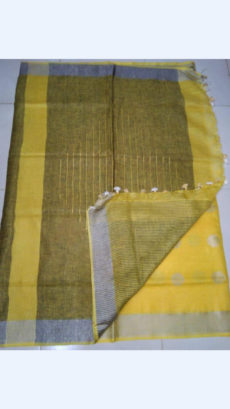 Plain with design patterned Yellow Linen Saree-yespoho