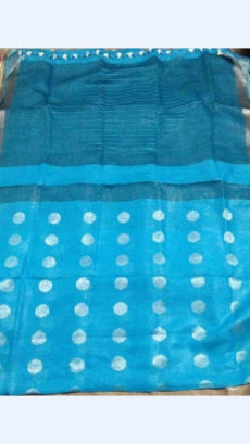 Sky Blue Butta Design Linen Saree with Silver Zari border-yespoho