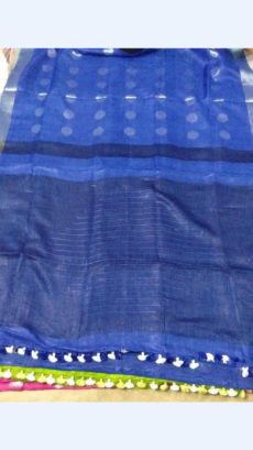 Blue Linen Saree with Silver border-yespoho