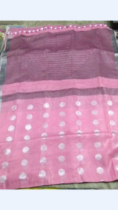 Pink Linen Saree with Striped Pallu-yespoho