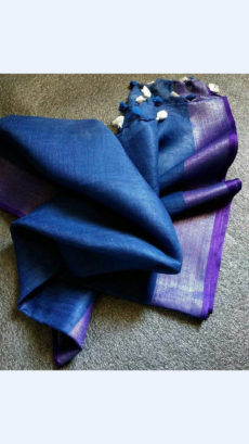 Plain patterned Royal Blue Linen Saree with Striped Pallu-yespoho
