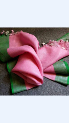 Pink Linen Saree with Green Border and Tassels-yespoho