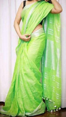 Lemon Green Linen Saree with Silver border-yespoho