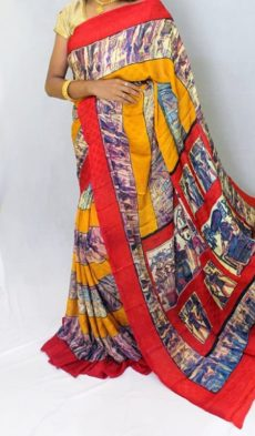 multicolor red and yellow Chiffon saree with fancy designer Pallu-yespoho