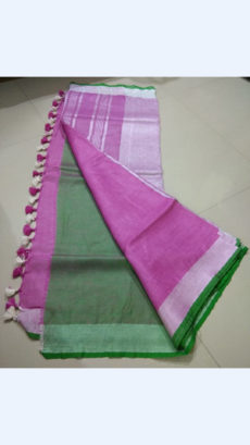 Dark Pink Linen Saree with Silver Striped Pallu-yespoho