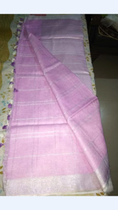 Baby Pink Linen Saree with Silver border-yespoho