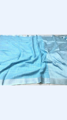 Checks patterned Light Blue Linen Saree with Striped Pallu-yespoho