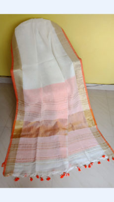 White Linen Saree with Golden with orange border