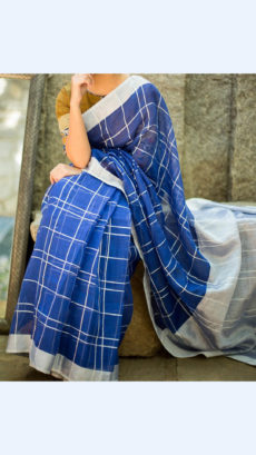 Blue Checks Linen Saree with Silver Border-yespoho