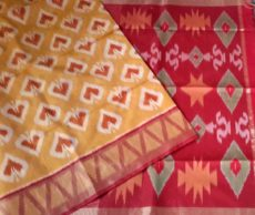 Mustard Color Designer Pochampally Silk Cotton Saree-yespoho
