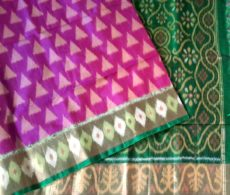 Magenta and Bottle Green Color Pochampally Silk Cotton Saree-yespoho
