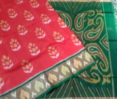 Tomato Red Pochampally Silk Cotton Saree with Designer Pallu-yespoho