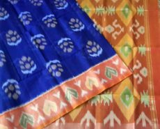Blue Pochampally Silk Cotton Saree with Brown Border-yespoho