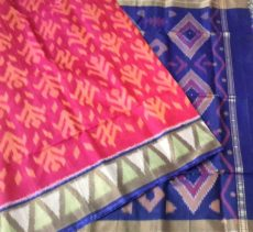 Pink and blue Color Pochampally Silk Cotton Saree with designer pallu-yespoho