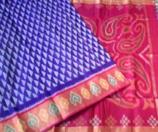 Blue and pink Color Pochampally Silk Cotton Saree-yespoho