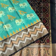 Teal and black Color Pochampally Silk Cotton Saree with designer pallu-yespoho