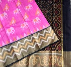 Pink Pochampally Silk Cotton Saree with Black Color Designer Pallu-yespoho