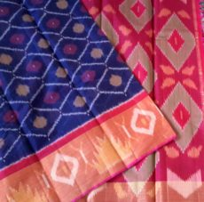 Red and blue Color Pochampally Silk Cotton Saree with designer pallu-yespoho