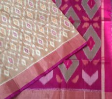 Light brown and magenta Color Pochampally Silk Cotton Saree with designer pallu-yespoho