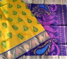 Yellow Color Pochampally Silk Cotton Saree with designer pallu-yespoho