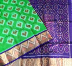 Parrot green and purple Color Pochampally Silk Cotton Saree with designer pallu-yespoho