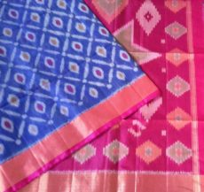 Magenta and Blue Color Pochampally Silk Cotton Saree with designer pallu-yespoho