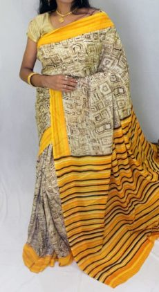 Golden yellow with designer pattern Chiffon saree with fancy designer Pallu-yespoho