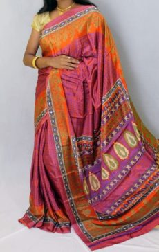 Orange with light maroon color Chiffon saree with fancy designer Pallu-yespoho