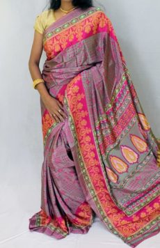 Grey with pink color Chiffon saree with fancy designer Pallu-yespoho