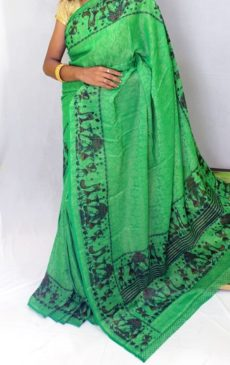 Parrot green color Chiffon saree with fancy designer Pallu-yespoho