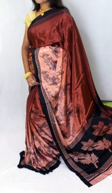 Dark maroon Chiffon saree with fancy designer Pallu-yespoho