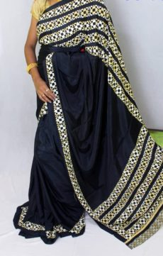 Dark Navy blue color Chiffon saree with fancy designer Pallu-yespoho