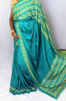 Teal blue color Chiffon saree with fancy designer Pallu-yespoho