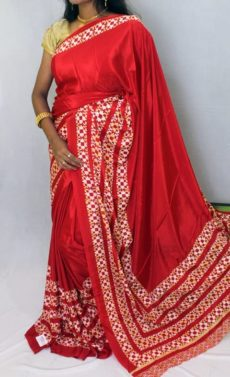 Red color Chiffon saree with fancy designer Pallu-yespoho