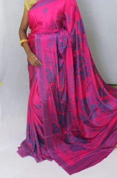 Magenta color Chiffon saree with fancy designer Pallu-yespoho
