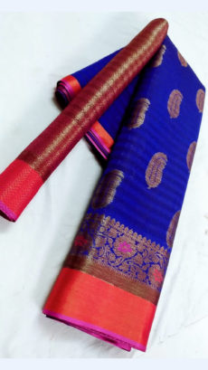 Beautiful Blue & Magenta Fancy Banarasi weaved from Silk Mix-yespoho