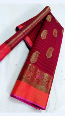 Beautiful Red & Magenta Fancy Banarasi weaved from Silk Mix-yespoho