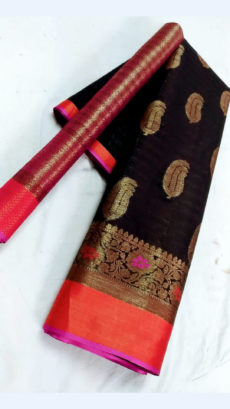 Beautiful Black & Magenta Fancy Banarasi weaved from Silk Mix-yespoho