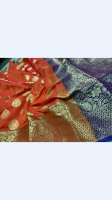 Elegant Orange & Royal Blue Banarasi Silk Cotton Saree-yespoho