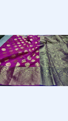 Elegant Purple & Royal Blue Banarasi Silk Cotton Saree-yespoho