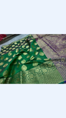 Elegant Green & Royal Blue Banarasi Silk Cotton Saree-yespoho
