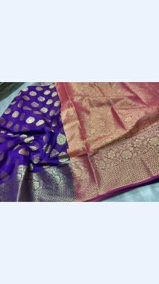 Elegant Royal Blue & Magenta Banarasi Silk Cotton Saree-yespoho