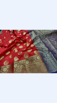 Elegant Red & Royal Blue Banarasi Silk Cotton Saree-yespoho