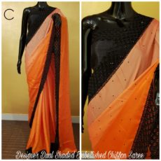 Orange with black border printed Chiffon saree with satin border-yespoho