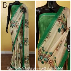 Green with off-white printed Chiffon saree with satin border-yespoho