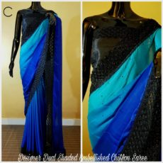 Multicolor blue with black border printed Chiffon saree with satin border-yespoho