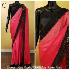 Tomato red with black border printed Chiffon saree with satin border-yespoho