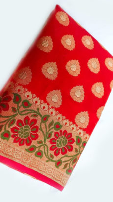 Red Banarasi Silk Cotton Saree With Golden Butta & Floral Border-yespoho