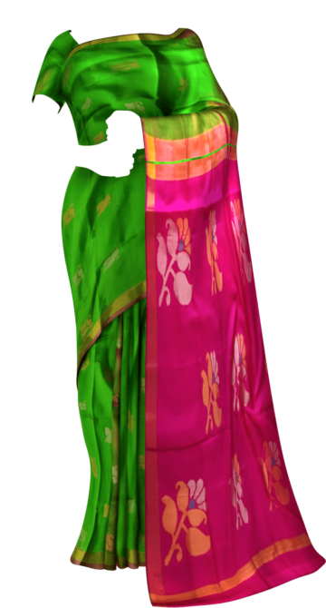 Shop Green and Magenta Uppada Jamdani Saree with Butta pattern Online
